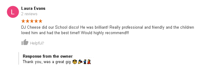 Laura Evans 5 Star Review of DJ Cheese
