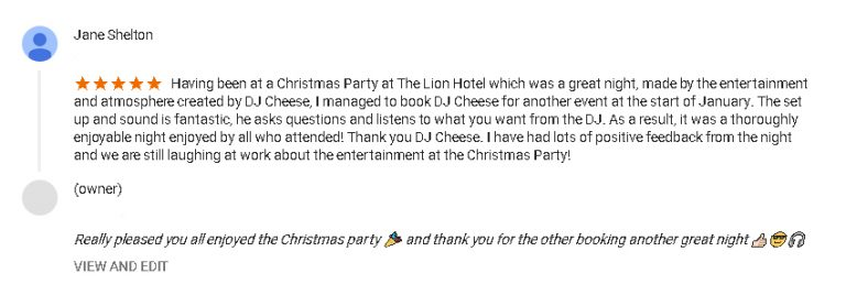5 Start DJ Review of DJ Cheese by Jane Shelton