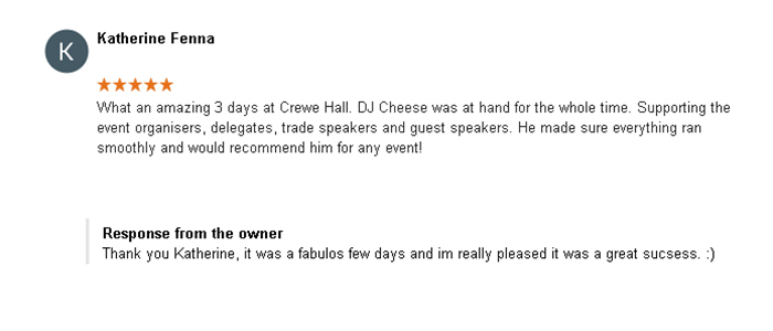 5 Start DJ Review of DJ Cheese by Katherine Fenna