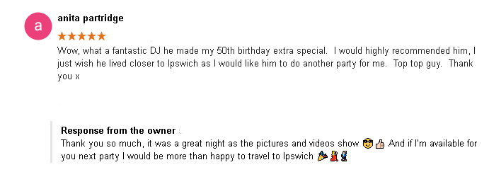 5 Star DJ Review of DJ Cheese by Anita Partridge