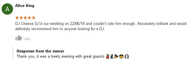 5 Star Wedding DJ review of DJ Cheese by Alice King