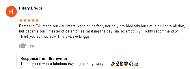 5 Star Wedding DJ Review of DJ Cheese by Hilary Briggs