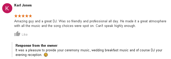 5 Star Wedding DJ Review of DJ Cheese by Karl Jones