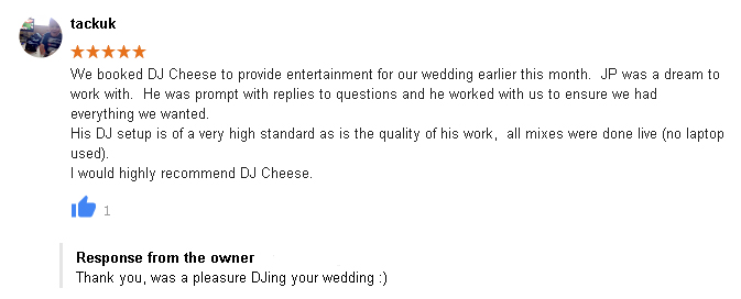 5 Star Wedding DJ Review of DJ Cheese by Richard Atkins