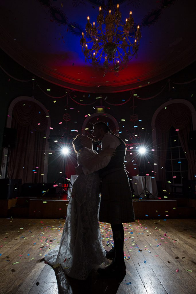 Picture of the Confetti Canon going off during the first dance taken by Nicola Gough Photography